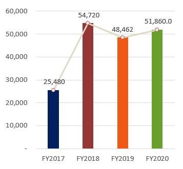 Total Assets, FY2017:644,782, FY2018:690,084, FY2019:702,916, FY2020:51,860.0