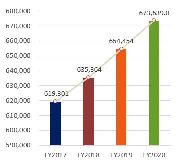 Total Assets, FY2017:644,782, FY2018:690,084, FY2019:702,916, FY2020:673,639.0